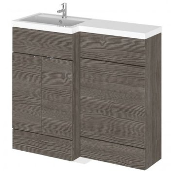 Fuji 100cm Left Handed Vanity With L-Shaped Basin In Brown