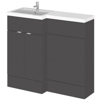 Fuji 100cm Left Handed Vanity With L-Shaped Basin In Grey