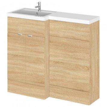 Fuji 100cm Left Handed Vanity With L-Shaped Basin In Oak