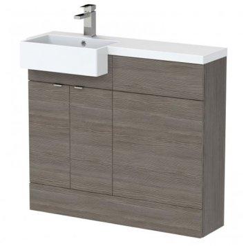 Fuji 100cm Left Handed Vanity With Square Basin In Brown Grey