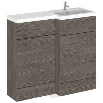 Fuji 100cm Right Handed Vanity With L-Shaped Basin In Brown