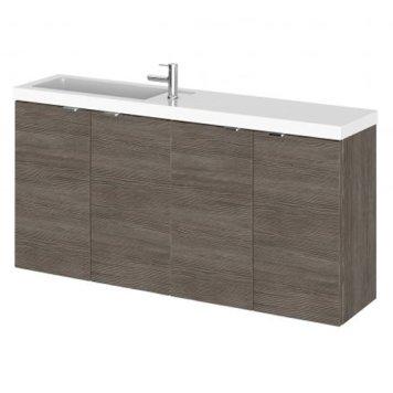 Fuji 100cm Wall Hung Vanity Unit With Basin In Brown Grey Avola