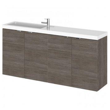 Fuji 120cm Wall Hung Vanity Unit With Basin In Brown Grey Avola