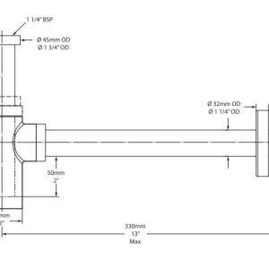 Victoria Albert Kit 22 Basin bottle trap – Brushed Nickel