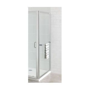 Eastbrook Corniche easy clean side panel with towel rail – 700mm Wide – Silver