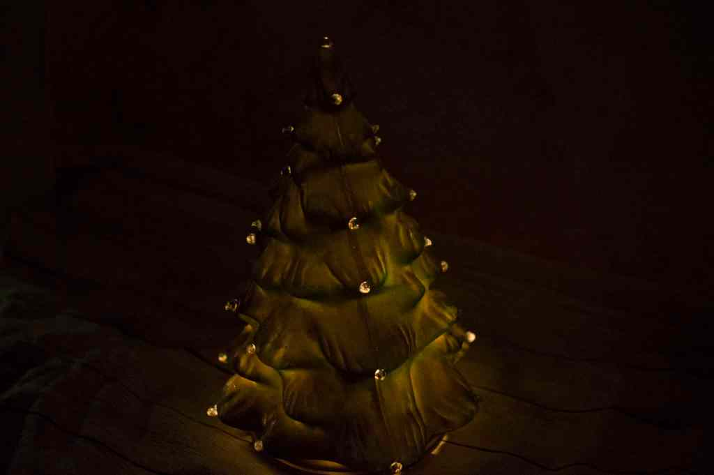 Your DIY Retro style Christmas tree in the dark with lights on
