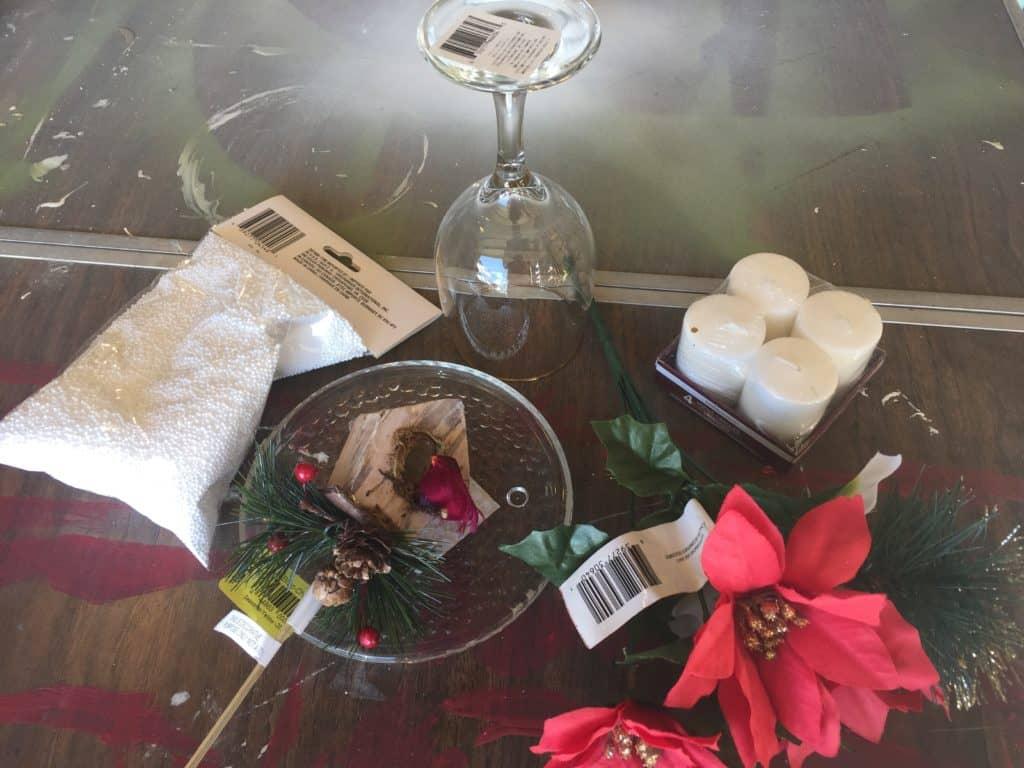 christmas wine glass candle