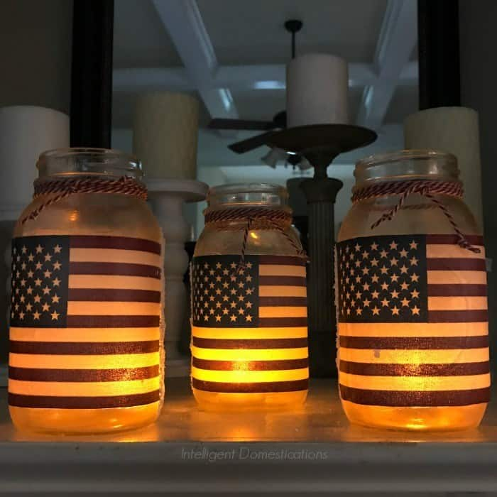 Glowing American flag Mason jars.