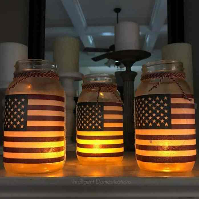 Glowing American flag Mason jars.