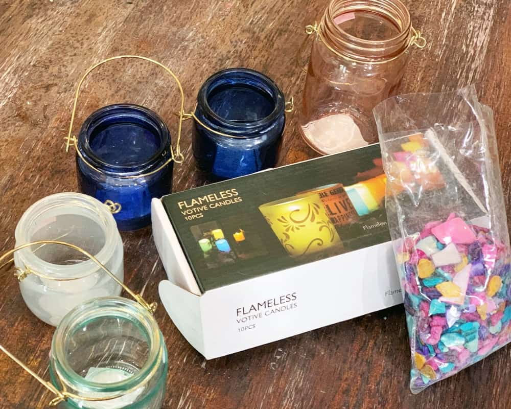 All the supplies you will need to make magical mason jar hanging tree lights.