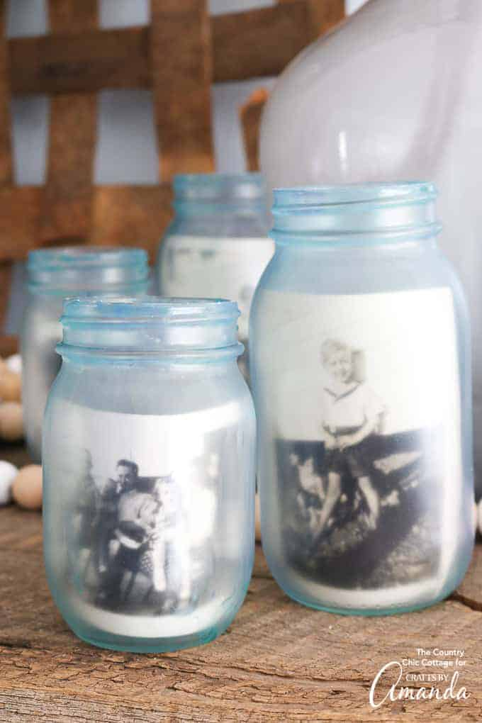 Frosted photo memory mason jars.