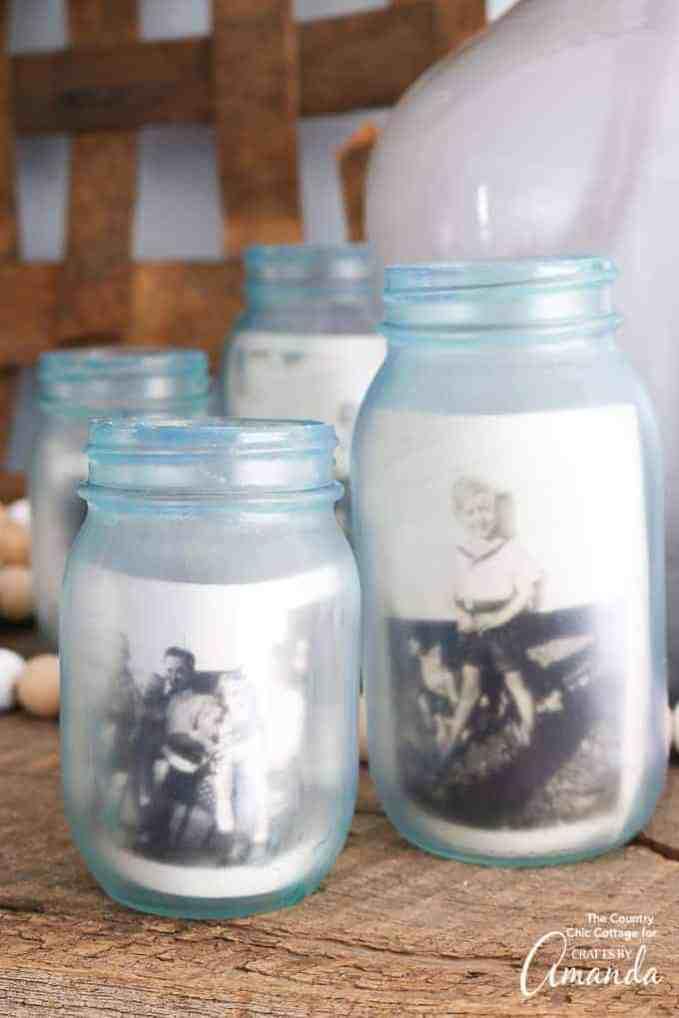 Frosted photo memory mason jars.
