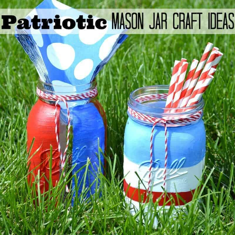 Red white and blue striped mason jars.