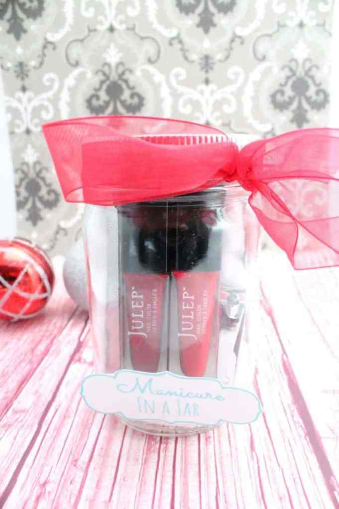 Add your favorite nail products to a mason jar for a custom manicure gift set.