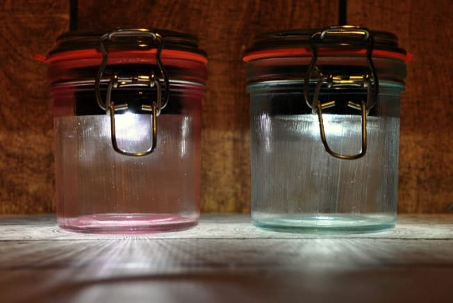Two solar powered mason jar nightlights.