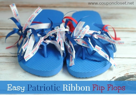 Blue flip flops with red white and blue ribbon tassels tied on for the 4th of July.