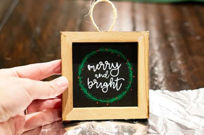 merry and bright reversible canvas Christmas ornament