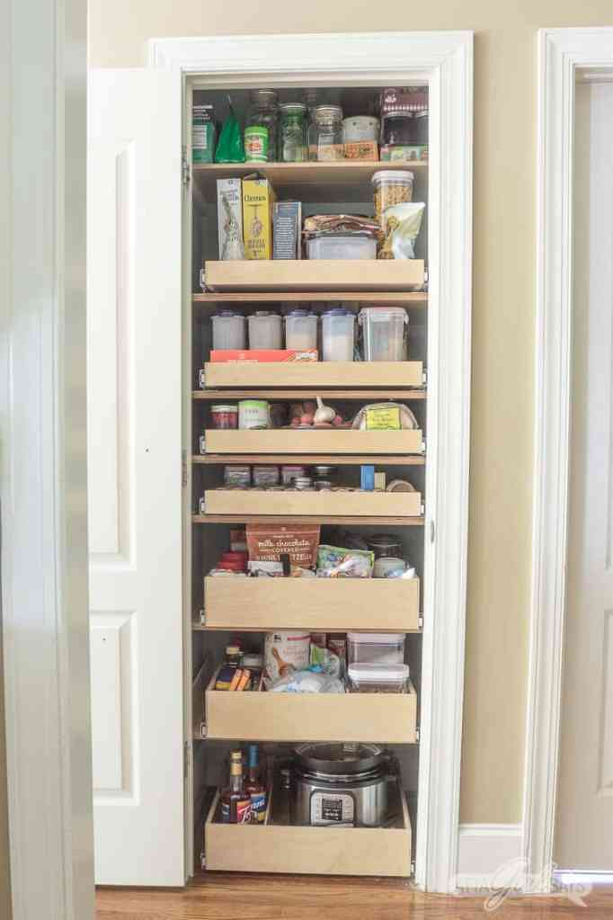 Small pantry organization ideas with rolling drawers