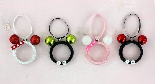 Four  Mickey and Minnie DIY ornaments in various colors