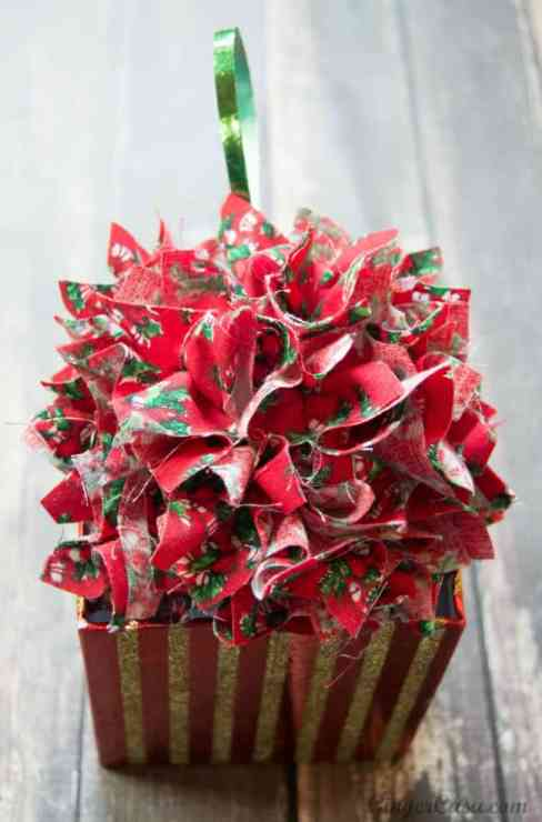 A fabric flower style ornament