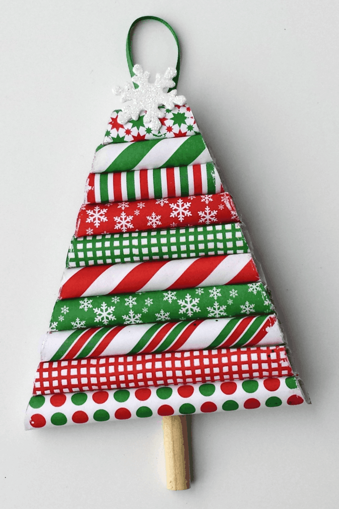A tree ornament DIY made from leftover wrapping paper.
