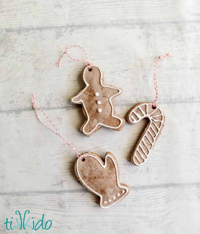 Gingerbread, candy cane and mitten decorated gingerbread salt dough ornaments