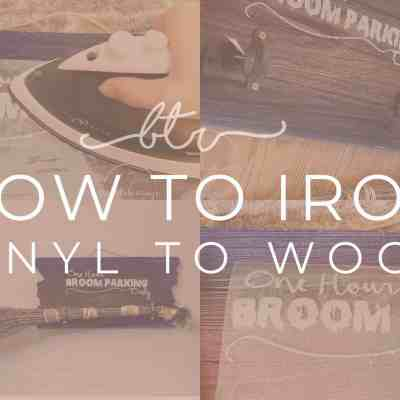 How to Iron Vinyl onto Wood: Witches Broom Parking Halloween Sign
