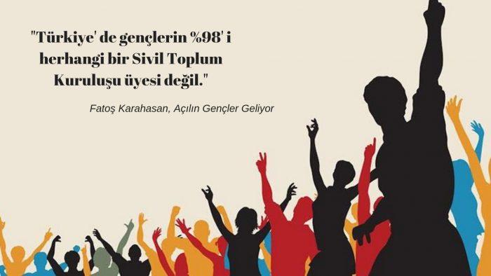 Türkiye' de gençlerin %98'i herhangi bir sivil toplum kuruluşu üyesi değil.