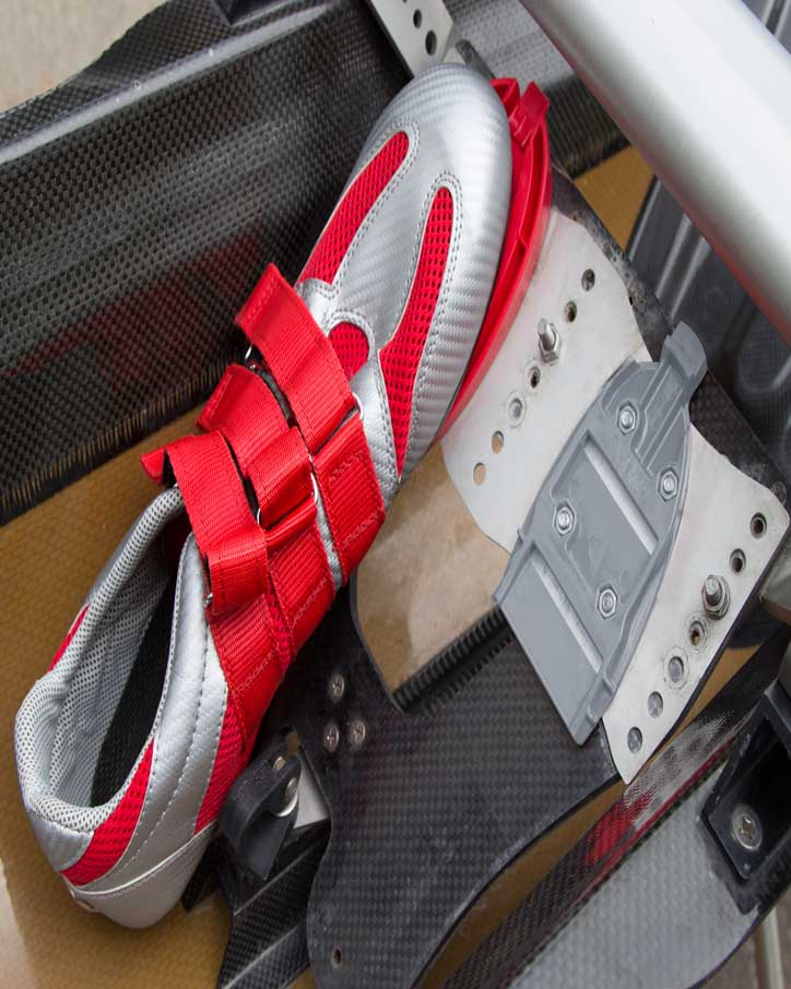 The BasePlate on a foot stretcher with a New Wave shoe and ShoePlate attached