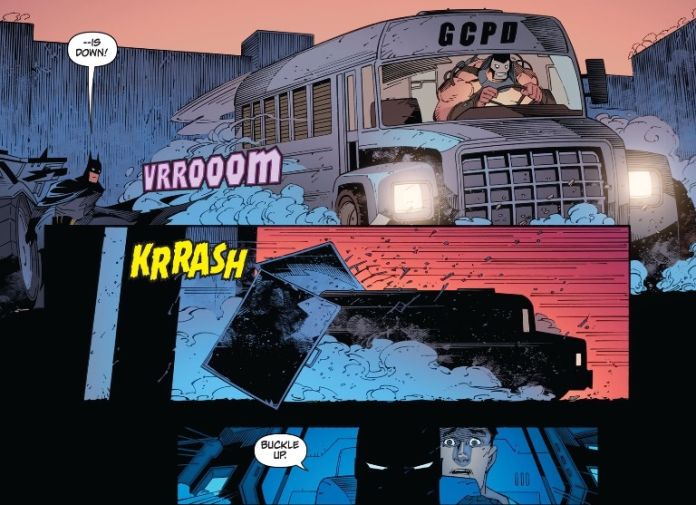 Ha ha, Bane looks so silly driving such a little vehicle.