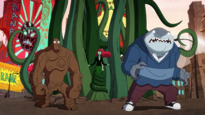 Dr. Psycho sends Poison Ivy, Clayface, and King Shark to fight