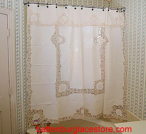 Battenburg Lace Shower Curtains Ecru Color Piineapple Battenburg Lace