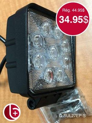 Phare LED 27w 1620 lumens SPOT. 2 en stock