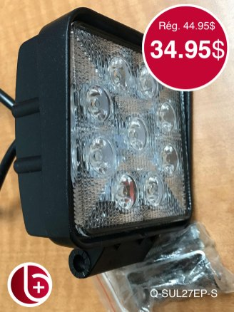 Phare LED 27w 1620 lumens SPOT. 2 en stock