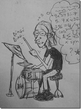 apprendre la batterie caricature