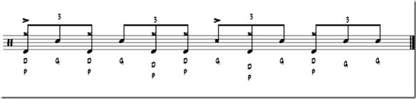 double paradiddle rythme 4