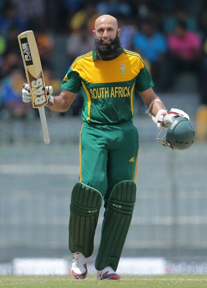 Amla celebrates after scoring his 13th ODI century
