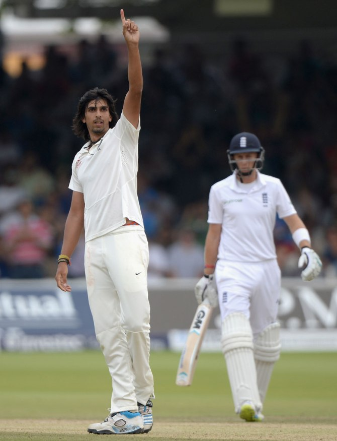 Sharma celebrates after recording his career-best bowling figures