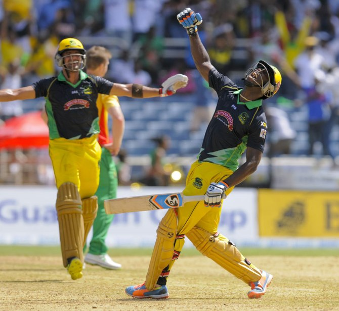 Russell is over the moon after leading Jamaica to victory with a last ball six