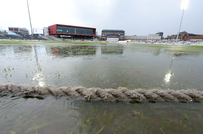 The heavy downpour left the outfield in a terrible state