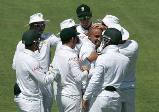 Piedt picked up a wicket on the first ball of his Test career