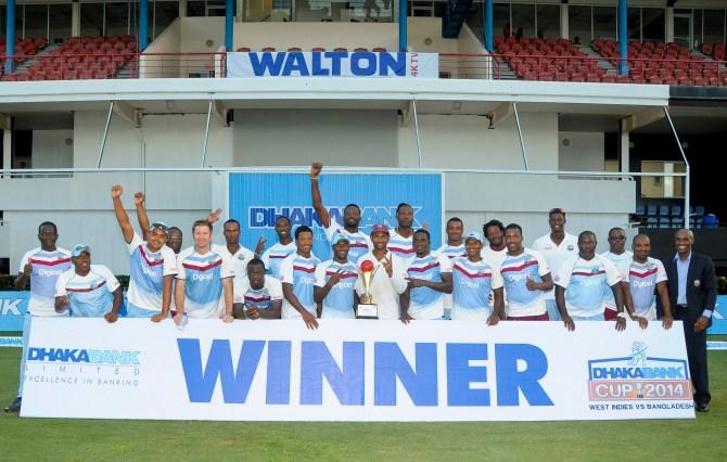 The West Indies celebrate after whitewashing Bangladesh 2-0