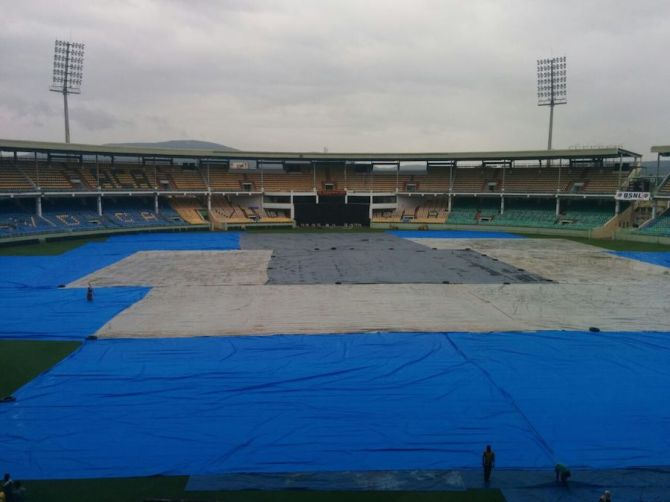The covers are left on the ground in Visakpatnam as Cyclone Hudhud continues to wreak havoc