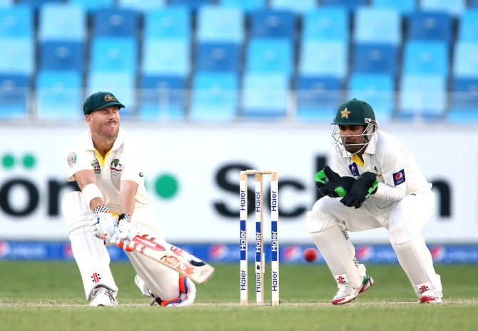 Warner remained unbeaten on 75 at the end of the day