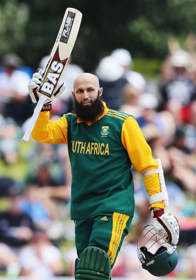 Amla celebrates after scoring his 16th ODI century