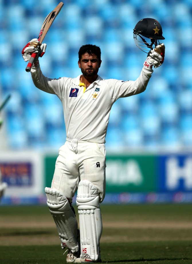 Shehzad celebrates after scoring his second Test century