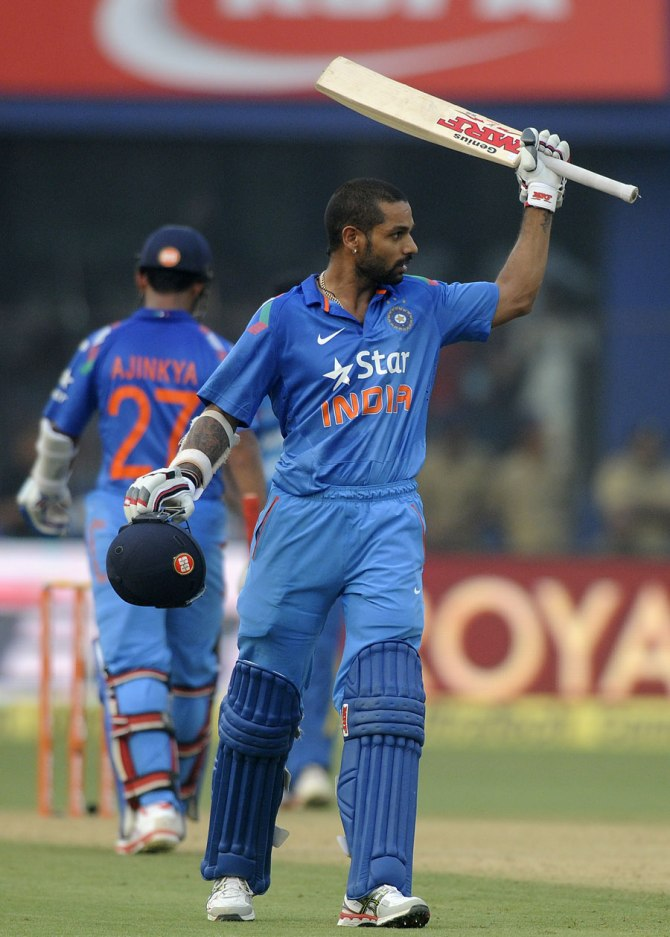 Dhawan celebrates after scoring his sixth ODI century