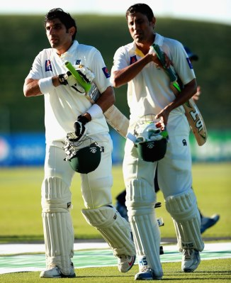 Khan (right) and ul-Haq (left) both scored centuries