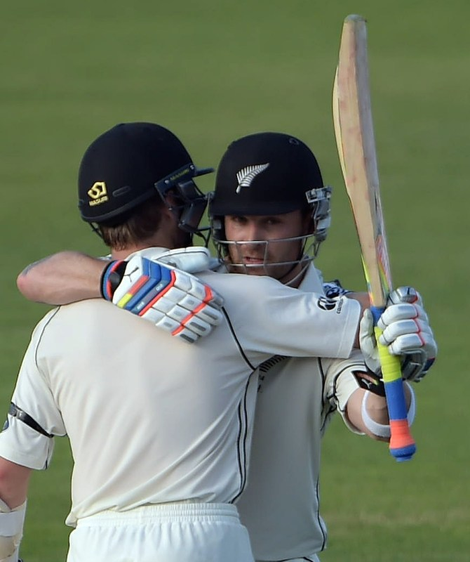 McCullum celebrates after scoring his 10th Test century