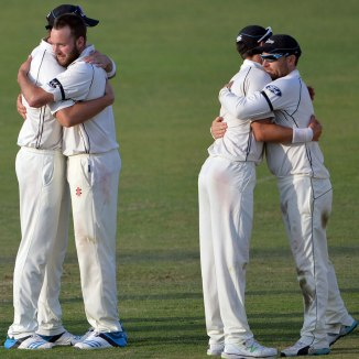 New Zealand celebrate after winning the third Test by an innings and 80 runs